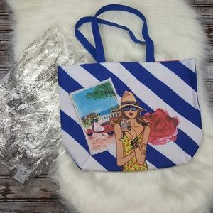 Lancome Bags - NIB Lancome Large Blue and White Stripe Tote Bag